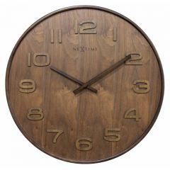 """Ceas de perete, D-35 cm, cifre arabe, lemn, NeXtime - """"Wood Wood Medium"""", maro"""
