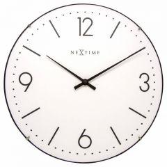 "Ceas de perete, D-35 cm, cifre arabe, sticla convexa, NeXtime - ""Basic Dome"", alb"