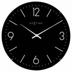 "Ceas de perete, D-35 cm, cifre arabe, sticla convexa, NeXtime - ""Basic Dome"", negru"