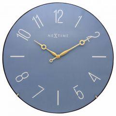 "Ceas de perete, D-35 cm, cifre arabe, sticla convexa, NeXtime - ""Trendy Dome"", albastru"
