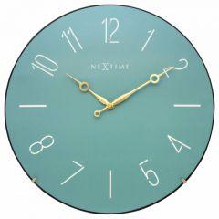 """Ceas de perete, D-35 cm, cifre arabe, sticla convexa, NeXtime - """"Trendy Dome"""", turquoise"""