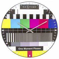 "Ceas de perete, D-35 cm, sticla convexa, NeXtime - ""Testpage Dome"", multicolor"