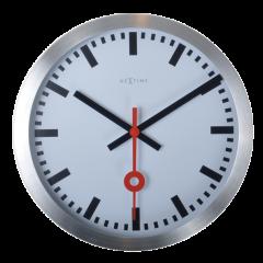 """Ceas de perete, D-19 cm, aluminiu, NeXtime - """"Station"""", alb"""