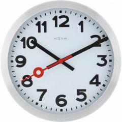 "Ceas de perete, D-35 cm, cifre arabe, aluminiu, NeXtime - ""Station"", alb"