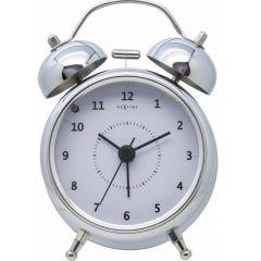 """Ceas desteptator, D-9 cm, cifre arabe, metal, NeXtime - """"Wake Up"""", argintiu"""