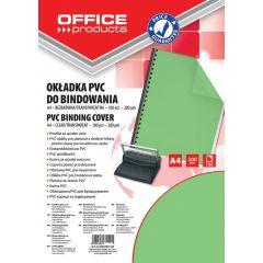 Coperta plastic PVC, 200 microni, A4, 100/top Office Products - verde transparent