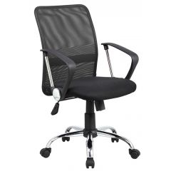 Scaun de birou, brate plastic, rotile, mesh textil/stofa, Office Products Lipsi - negru