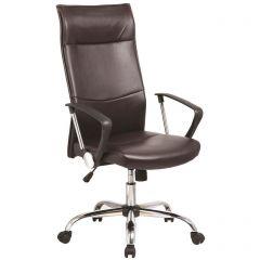 Scaun de birou, brate metalice, rotile, piele ecologica eleganta, Office Products Majorca - negru