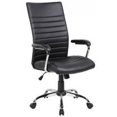 Scaun de birou, brate metalice, rotile, material PVC, Office Products Ibiza - negru