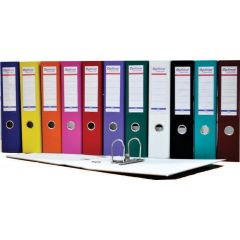 Biblioraft A4, plastifiat PP/paper, margine metalica, 75 mm, Optima Basic - alb