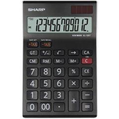 Calculator de birou, 12 digits, 176 x 112 x 13 mm, dual power, SHARP EL-125TWH - negru/alb