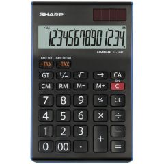 Calculator de birou, 14 digits, 155 x  97 x 12 mm, dual power, SHARP EL-144TBL - negru