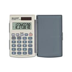 Calculator de buzunar,  8 digits, 105 x 64 x 11 mm, dual power, conversie, SHARP EL-243EB - gri