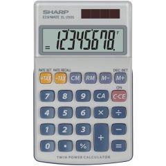 Calculator de buzunar,  8 digits, 116 x 71 x 17 mm, dual power, capac plastic, SHARP EL-250S - gri