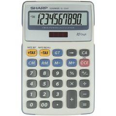 Calculator de birou, 10 digits, 170 x 108 x 15 mm, dual power, SHARP EL-334FB - gri
