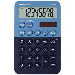 Calculator de buzunar,  8 digits, 120 x 76 x 23 mm, dual power, SHARP EL-760R-BL -albastru/bleumarin