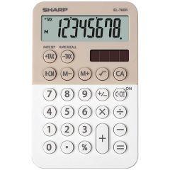 Calculator de buzunar,  8 digits, 120 x 76 x 23 mm, dual power, SHARP EL-760R-LA - bej/alb