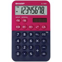 Calculator de buzunar,  8 digits, 120 x 76 x 23 mm, dual power, SHARP EL-760R-RB - rosu/bleumarin