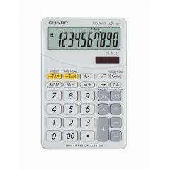 Calculator de birou, 10 digits, 149 x 100 x 27 mm, dual power, SHARP EL-M332BBL - gri/alb