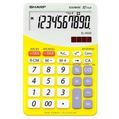 Calculator de birou, 10 digits, 149 x  100 x 27 mm, dual power, SHARP EL-M332BBL - gri/galben