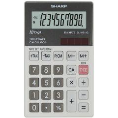 Calculator de buzunar, 10 digits, 117 x 70 x  8 mm, dual power, SHARP EL-W211GGY - gri
