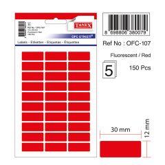 Etichete autoadezive color, 12 x 30 mm, 150 buc/set, TANEX - rosu fluorescent