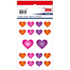 Stickere decorative, 18 buc/fila, 2 file/set, TANEX Kids - inimi