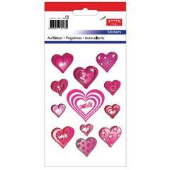 """Stickere decorative, 12 buc/fila, 2 file/set, TANEX Kids - inimi cu """"love"""" si stelute"""