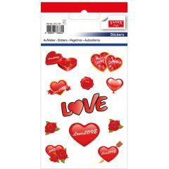 """Stickere decorative, 11 buc/fila, 2 file/set, TANEX Kids - inimi cu """"love"""" si trandafiri"""