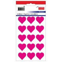 Stickere decorative, 12 buc/fila, 5 file/set, TANEX Kids - inimi - roz fluorescent