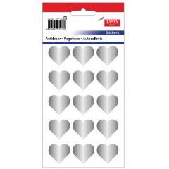 Stickere decorative, 12 buc/fila, 5 file/set, TANEX Kids - inimi - argintii
