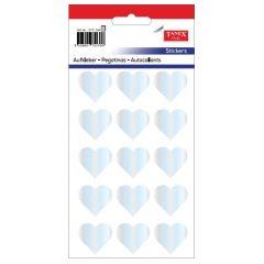 Stickere decorative, 12 buc/fila, 5 file/set, TANEX Kids - inimi - argintii holograma