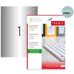 Etichete polyester argintii, autoadezive,  1/A4, 210 x 297mm, 25 coli/top, TANEX - colturi drepte