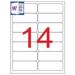 Etichete transparente autoadezive, 14/A4, 99.1 x 38.1mm, 25 coli/top, TANEX - colturi rotunjite