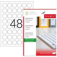 Etichete transparente autoadezive, 48/A4, D30mm - rotunde, 25 coli/top, TANEX