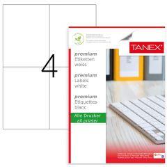 Etichete albe autoadezive, repozitionabile,  4/A4, 105 x 148.5mm, 25 coli/top, TANEX-colturi drepte