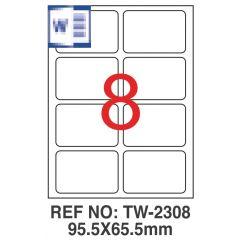 Etichete albe autoadezive, repozitionabile,  8/A4, 95.5 x 65.5mm, 25 coli/top, TANEX-colturi rotunji