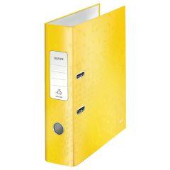 Biblioraft LEITZ 180 WOW, carton laminat, A4, 80 mm, galben
