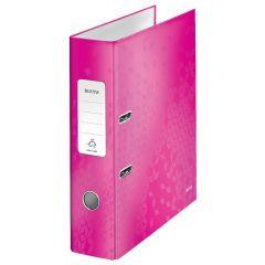Biblioraft LEITZ 180 WOW, carton laminat, A4, 80 mm, roz
