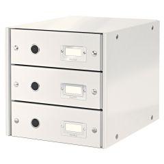 Suport cu 3 sertare, din carton laminat, LEITZ Click & Store - alb