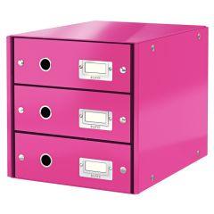 Suport cu 3 sertare, din carton laminat, LEITZ Click & Store - roz