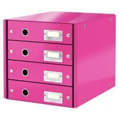 Cabinet cu sertare LEITZ WOW Click & Store, 4 sertare, carton laminat, A4, roz