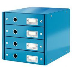 Suport cu 4 sertare LEITZ Click & Store, din carton laminat - albastru