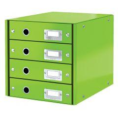 Cabinet cu sertare LEITZ WOW Click & Store, 4 sertare, carton laminat, A4, verde