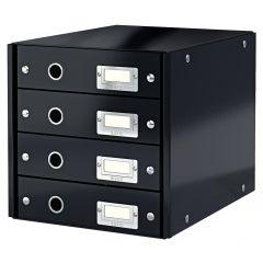 Suport cu 4 sertare LEITZ Click & Store, din carton laminat - negru