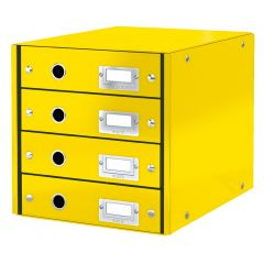 Cabinet cu sertare LEITZ WOW Click & Store, 4 sertare, carton laminat, A4, galben