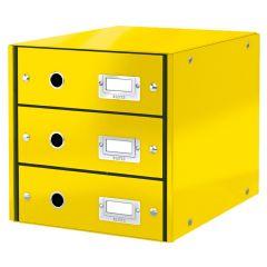 Cabinet cu sertare Leitz WOW Click & Store, 3 sertare, carton laminat, A4, galben