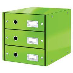 Cabinet cu sertare Leitz WOW Click & Store, 3 sertare, carton laminat, A4, verde