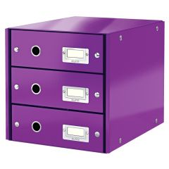 Suport cu 3 sertare, din carton laminat, LEITZ Click & Store - mov