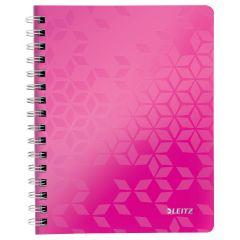 Caiet de birou LEITZ Wow, PP, A5, cu spira, matematica - roz metalizat